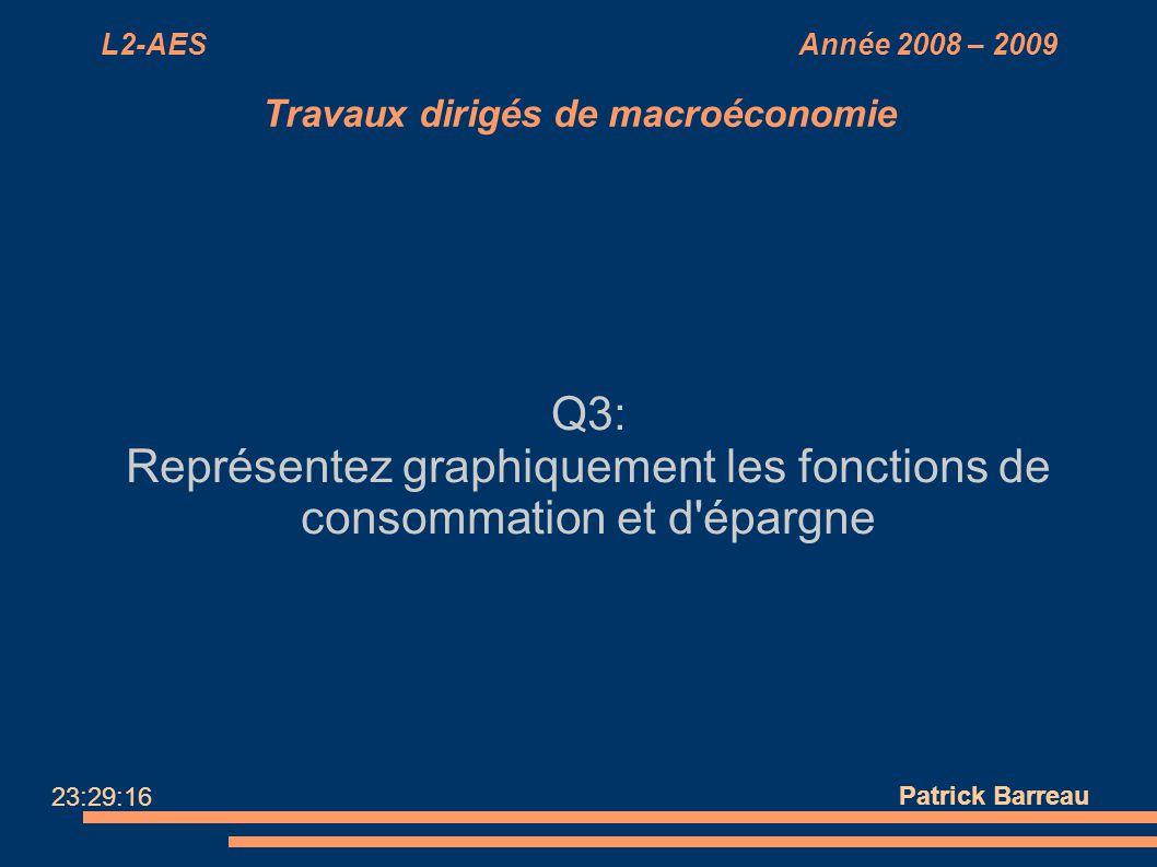 L2-AES Année 2008 – 2009 Travaux dirigés de macroéconomie Q3: Représentez graphiquement les fonctions de consommation et d'épargne Patrick Barreau 23: