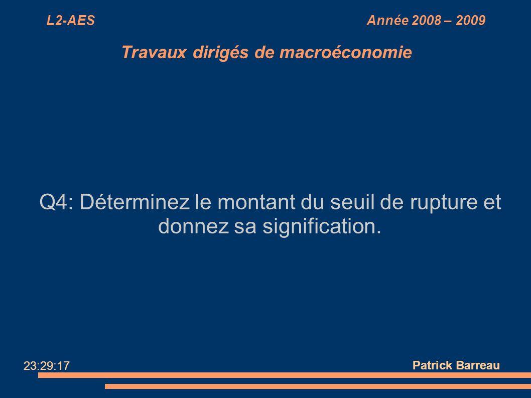 L2-AES Année 2008 – 2009 Travaux dirigés de macroéconomie Q4: Déterminez le montant du seuil de rupture et donnez sa signification. Patrick Barreau 23