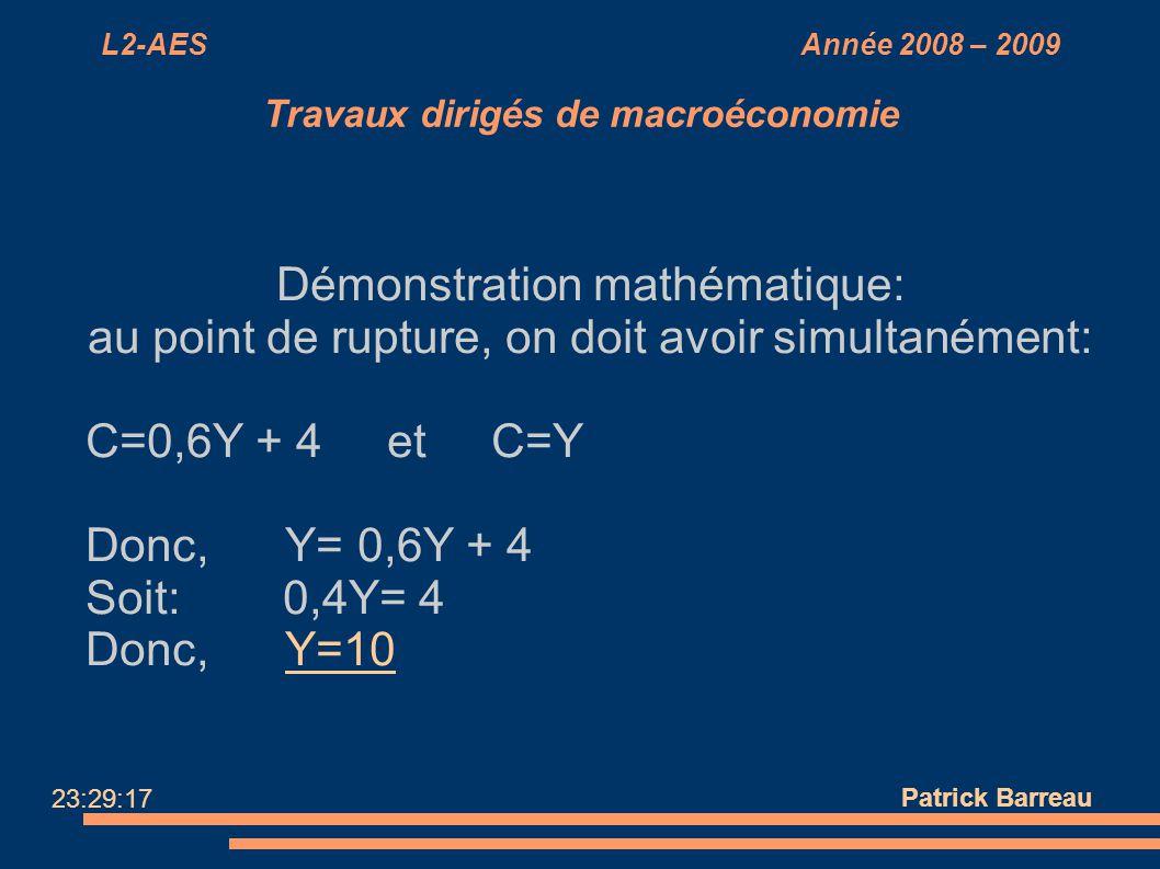 L2-AES Année 2008 – 2009 Travaux dirigés de macroéconomie Démonstration mathématique: au point de rupture, on doit avoir simultanément: C=0,6Y + 4 et