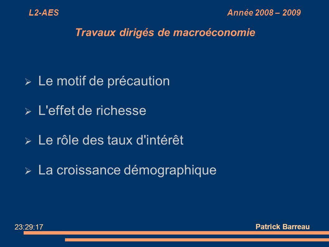 L2-AES Année 2008 – 2009 Travaux dirigés de macroéconomie Le motif de précaution L'effet de richesse Le rôle des taux d'intérêt La croissance démograp