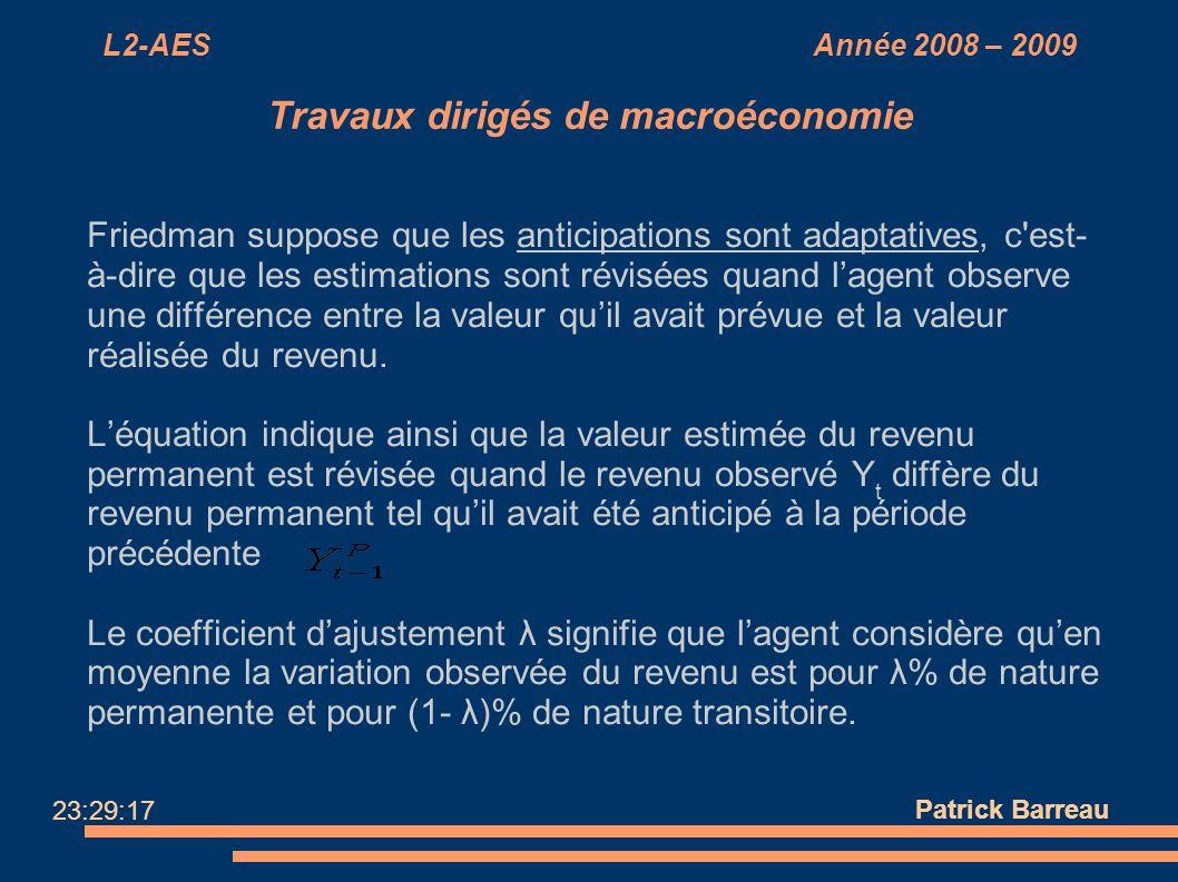 L2-AES Année 2008 – 2009 Travaux dirigés de macroéconomie Friedman suppose que les anticipations sont adaptatives, c'est- à-dire que les estimations s