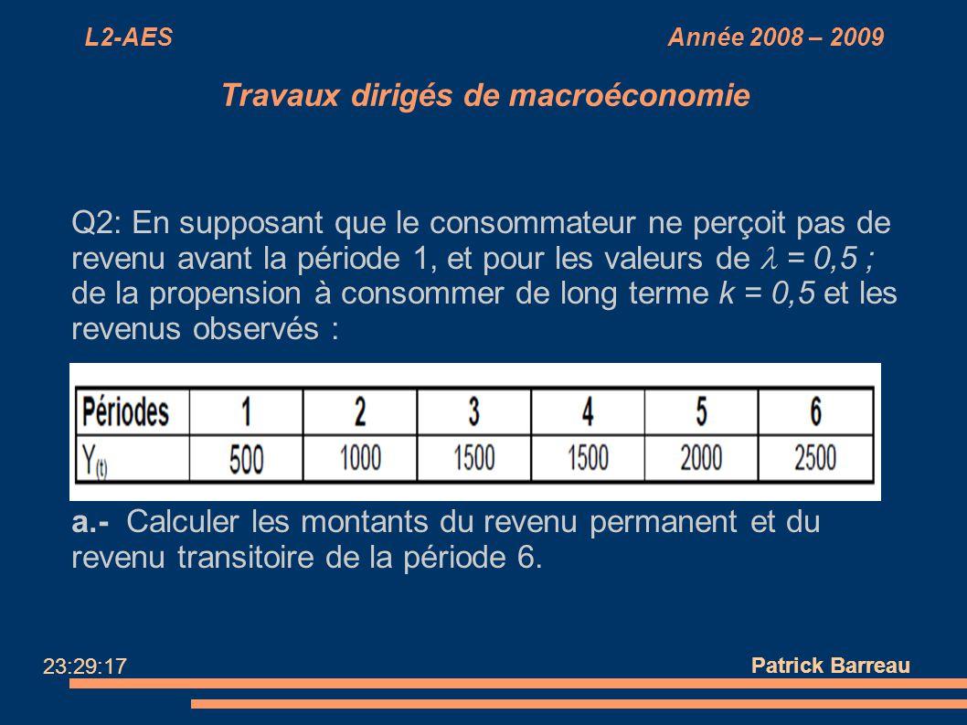 L2-AES Année 2008 – 2009 Travaux dirigés de macroéconomie Q2: En supposant que le consommateur ne perçoit pas de revenu avant la période 1, et pour le