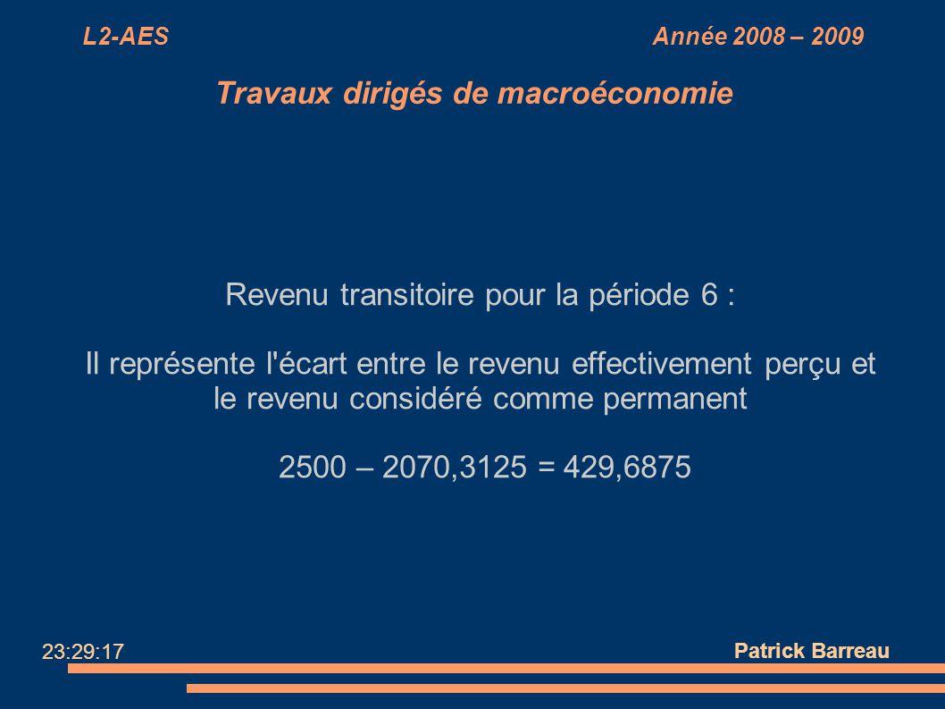 L2-AES Année 2008 – 2009 Travaux dirigés de macroéconomie Revenu transitoire pour la période 6 : Il représente l'écart entre le revenu effectivement p
