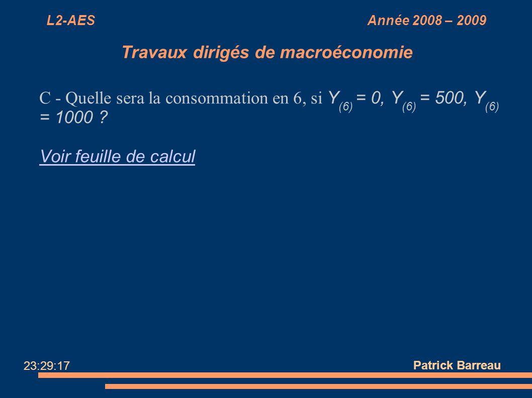 L2-AES Année 2008 – 2009 Travaux dirigés de macroéconomie C - Quelle sera la consommation en 6, si Y (6) = 0, Y (6) = 500, Y (6) = 1000 ? Voir feuille