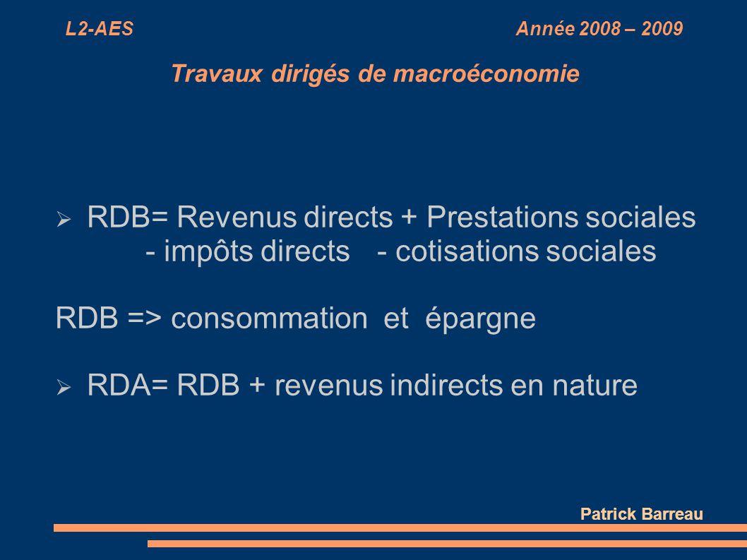 L2-AES Année 2008 – 2009 Travaux dirigés de macroéconomie RDB= Revenus directs + Prestations sociales - impôts directs- cotisations sociales RDB => co