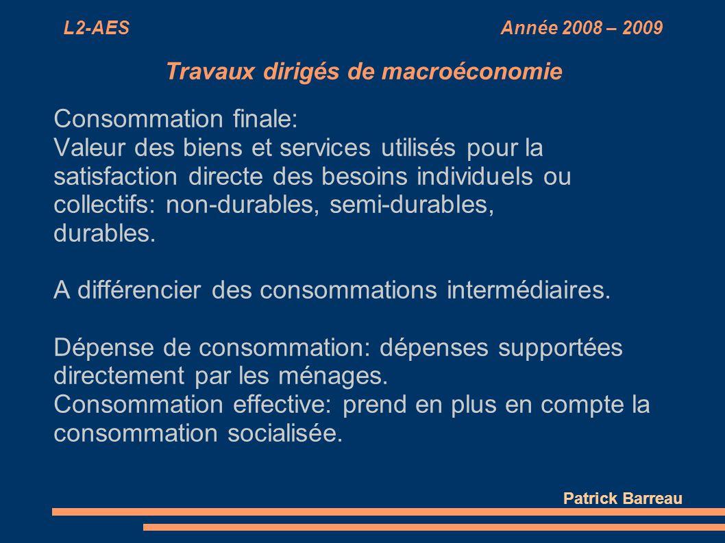 L2-AES Année 2008 – 2009 Travaux dirigés de macroéconomie Consommation finale: Valeur des biens et services utilisés pour la satisfaction directe des