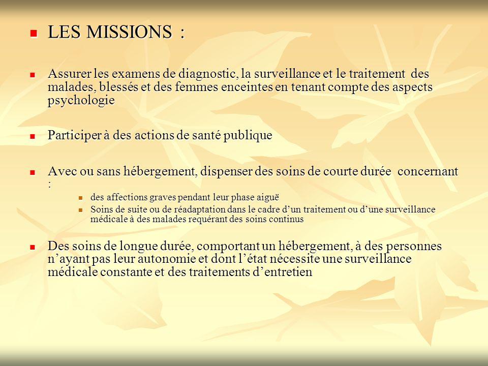 LES MISSIONS : LES MISSIONS : Assurer les examens de diagnostic, la surveillance et le traitement des malades, blessés et des femmes enceintes en tena