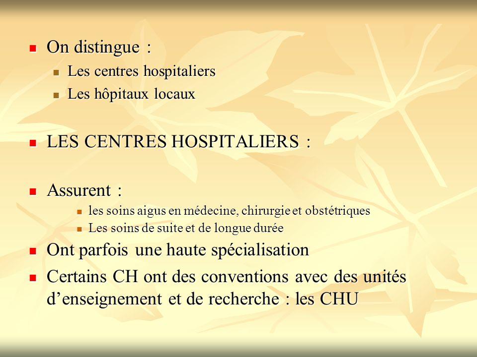 On distingue : On distingue : Les centres hospitaliers Les centres hospitaliers Les hôpitaux locaux Les hôpitaux locaux LES CENTRES HOSPITALIERS : LES