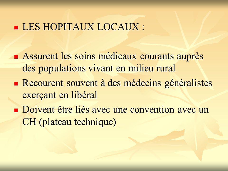 LES HOPITAUX LOCAUX : LES HOPITAUX LOCAUX : Assurent les soins médicaux courants auprès des populations vivant en milieu rural Assurent les soins médi