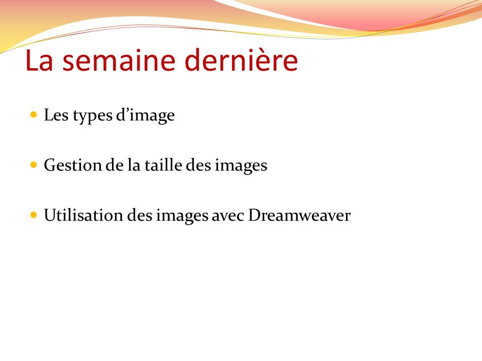 La semaine dernière Les types dimage Gestion de la taille des images Utilisation des images avec Dreamweaver