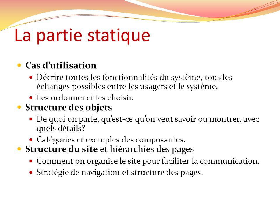 La partie statique Cas dutilisation Décrire toutes les fonctionnalités du système, tous les échanges possibles entre les usagers et le système.