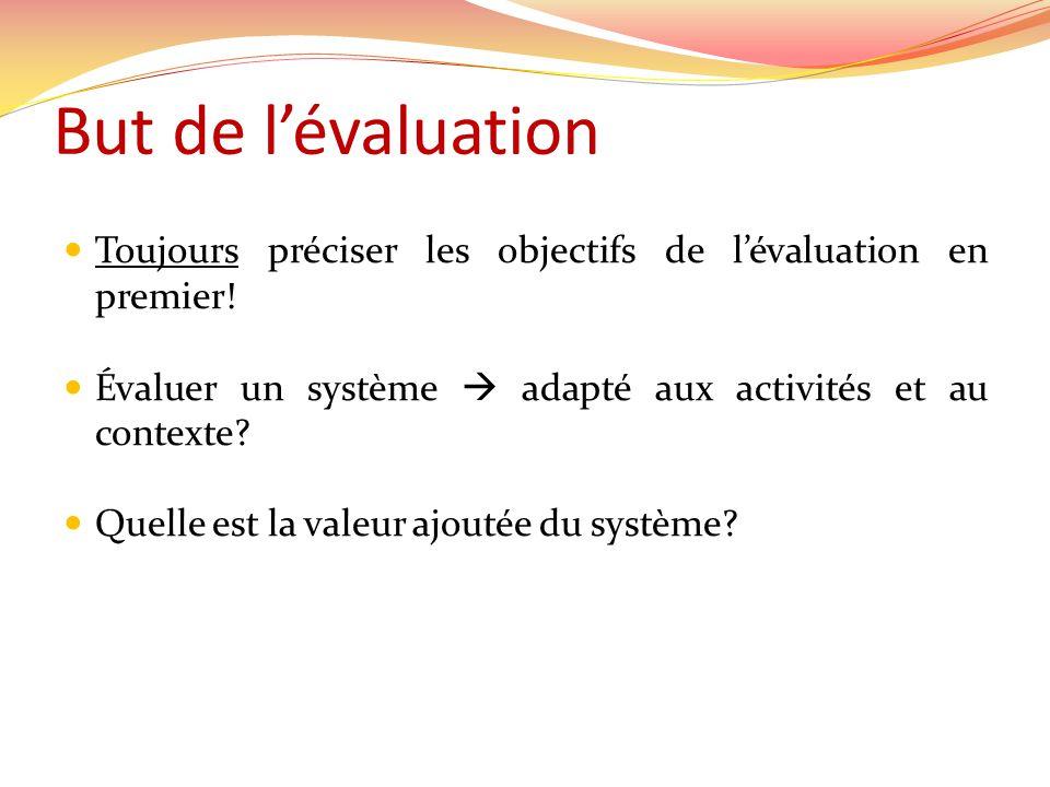 But de lévaluation Toujours préciser les objectifs de lévaluation en premier.