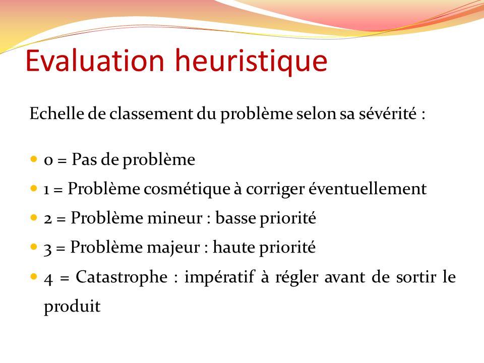 Evaluation heuristique Echelle de classement du problème selon sa sévérité : 0 = Pas de problème 1 = Problème cosmétique à corriger éventuellement 2 = Problème mineur : basse priorité 3 = Problème majeur : haute priorité 4 = Catastrophe : impératif à régler avant de sortir le produit