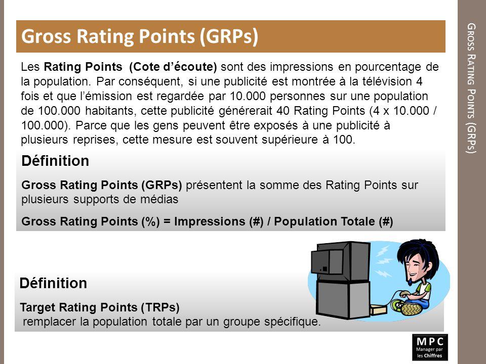 G ROSS R ATING P OINTS (GRP S ) Gross Rating Points (GRPs) Définition Gross Rating Points (GRPs) présentent la somme des Rating Points sur plusieurs s