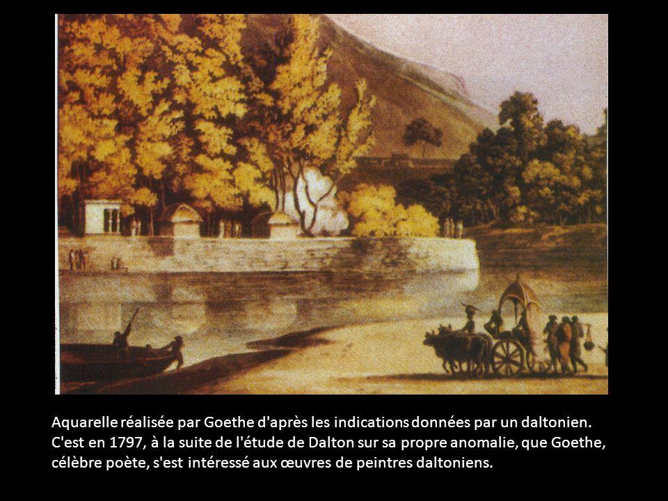 Aquarelle réalisée par Goethe d'après les indications données par un daltonien. C'est en 1797, à la suite de l'étude de Dalton sur sa propre anomalie,