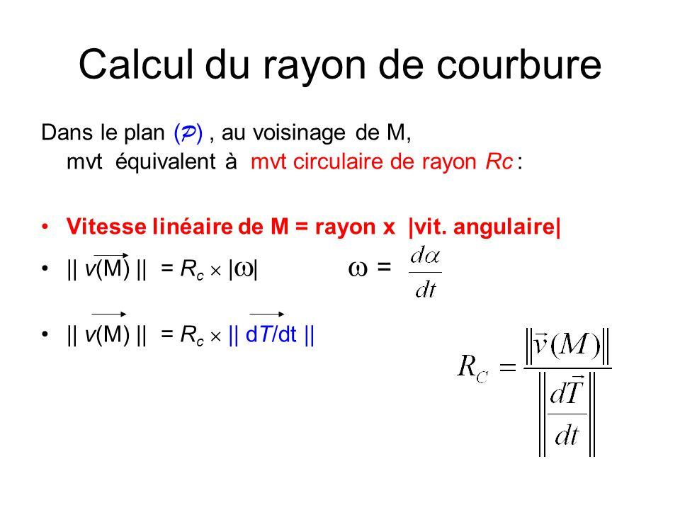 Calcul du rayon de courbure (3) Si vecteur accélération connu || v(M) || 3 R c = || v(M) a(M) || exemple :