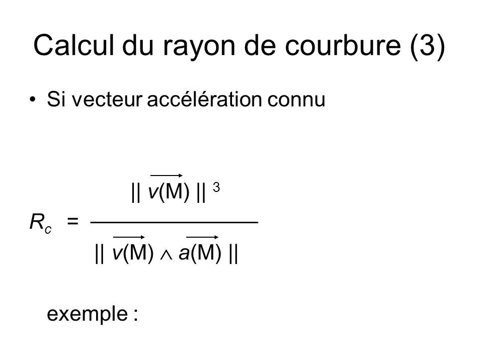 Relation vecteur tangent, vecteur normal, et rayon de courbure A partir de N =et On obtient