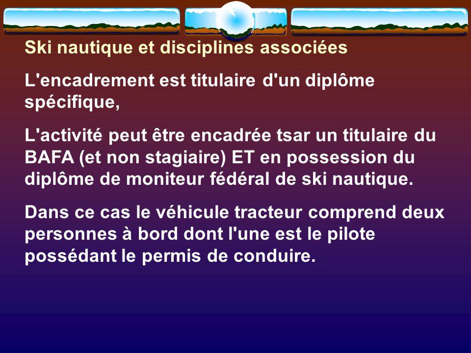 Ski nautique et disciplines associées L encadrement est titulaire d un diplôme spécifique, L activité peut être encadrée tsar un titulaire du BAFA (et non stagiaire) ET en possession du diplôme de moniteur fédéral de ski nautique.