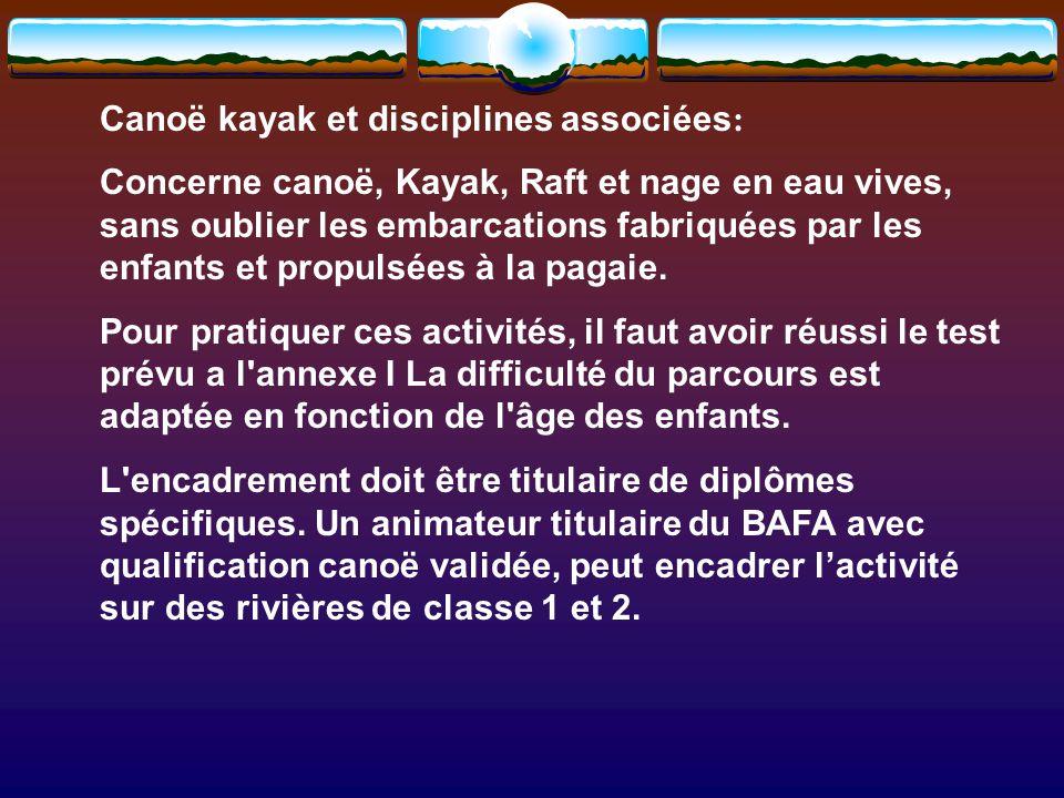 Canoë kayak et disciplines associées : Concerne canoë, Kayak, Raft et nage en eau vives, sans oublier les embarcations fabriquées par les enfants et propulsées à la pagaie.