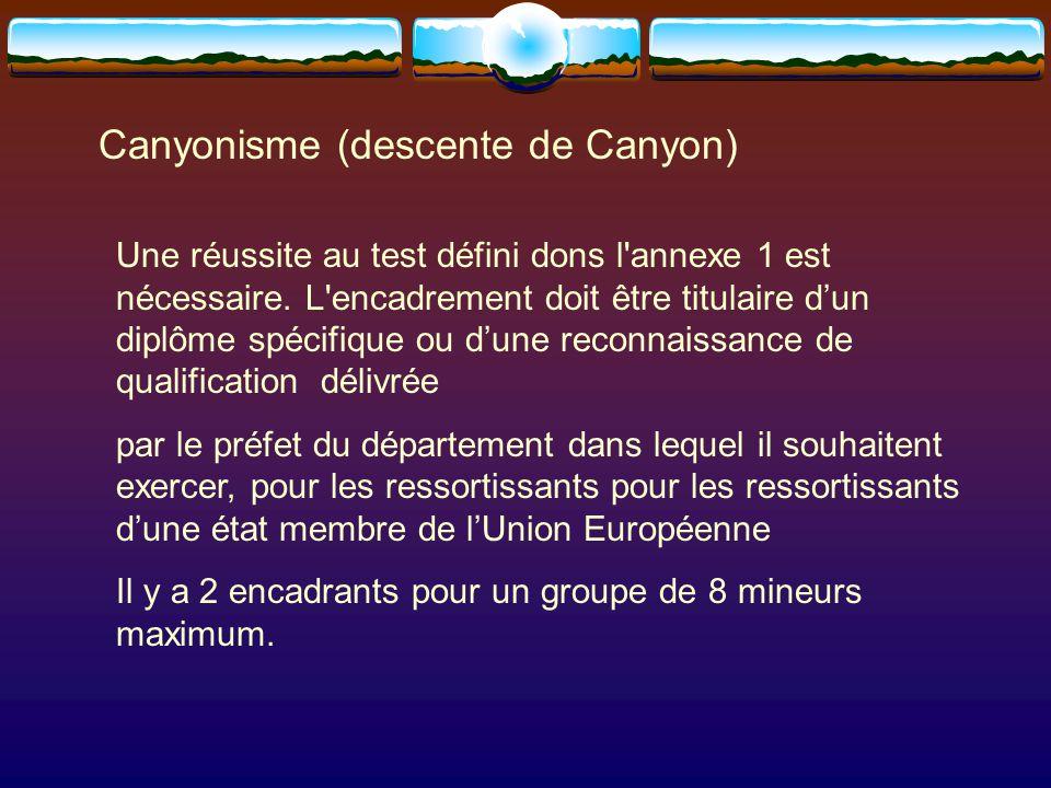 Canyonisme (descente de Canyon) Une réussite au test défini dons l annexe 1 est nécessaire.
