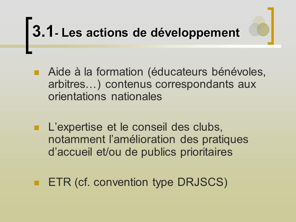Aide à la formation (éducateurs bénévoles, arbitres…) contenus correspondants aux orientations nationales Lexpertise et le conseil des clubs, notammen