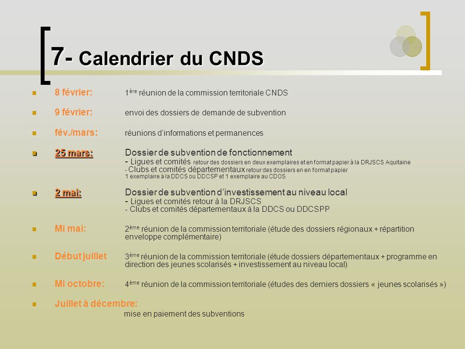7 - Calendrier du CNDS 8 février: 1 ère réunion de la commission territoriale CNDS 9 février: envoi des dossiers de demande de subvention fév./mars: r