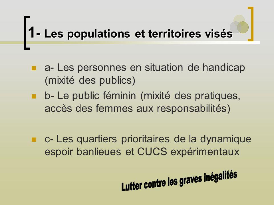 1 - Les populations et territoires visés a- Les personnes en situation de handicap (mixité des publics) b- Le public féminin (mixité des pratiques, ac