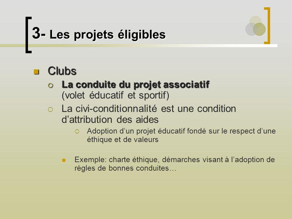 3 - Les projets éligibles Clubs Clubs La conduite du projet associatif La conduite du projet associatif (volet éducatif et sportif) La civi-conditionn