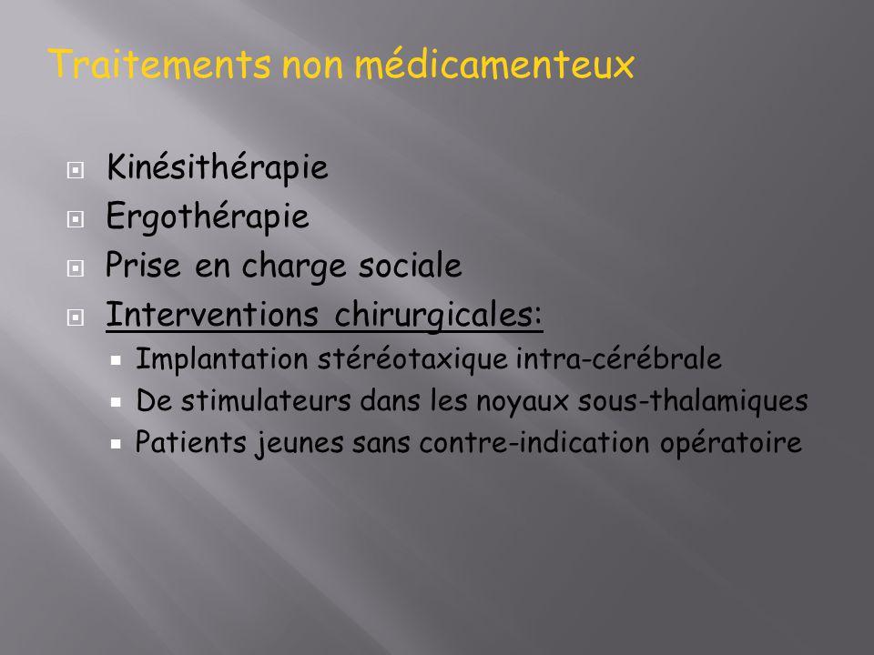 Kinésithérapie Ergothérapie Prise en charge sociale Interventions chirurgicales: Implantation stéréotaxique intra-cérébrale De stimulateurs dans les n