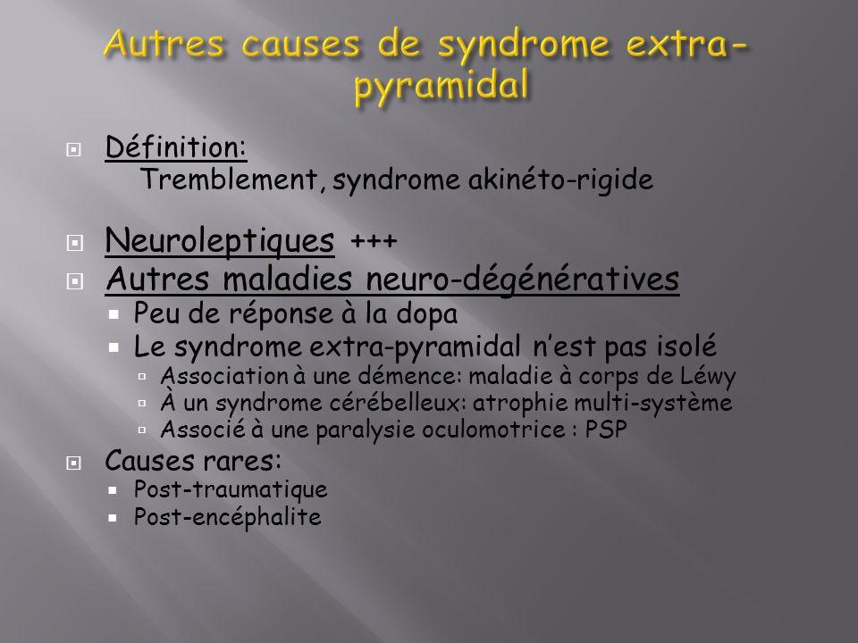 Définition: Tremblement, syndrome akinéto-rigide Neuroleptiques +++ Autres maladies neuro-dégénératives Peu de réponse à la dopa Le syndrome extra-pyr