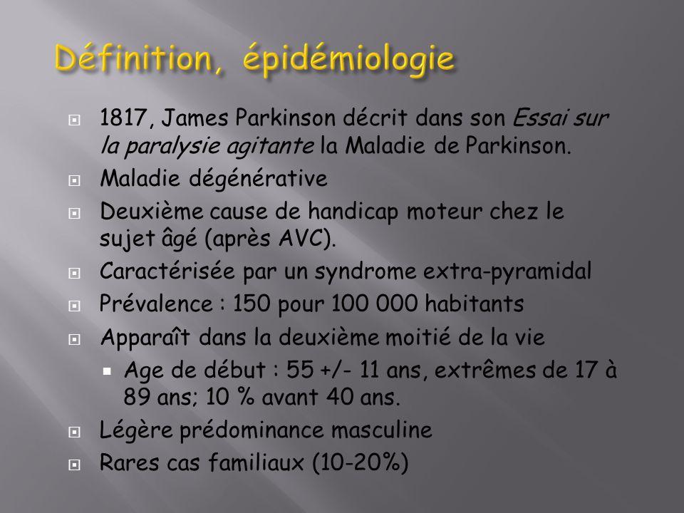 1817, James Parkinson décrit dans son Essai sur la paralysie agitante la Maladie de Parkinson. Maladie dégénérative Deuxième cause de handicap moteur