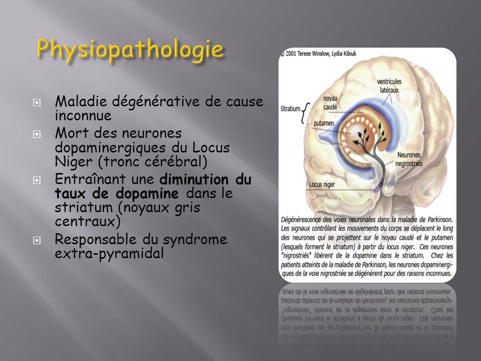 Maladie dégénérative de cause inconnue Mort des neurones dopaminergiques du Locus Niger (tronc cérébral) Entraînant une diminution du taux de dopamine