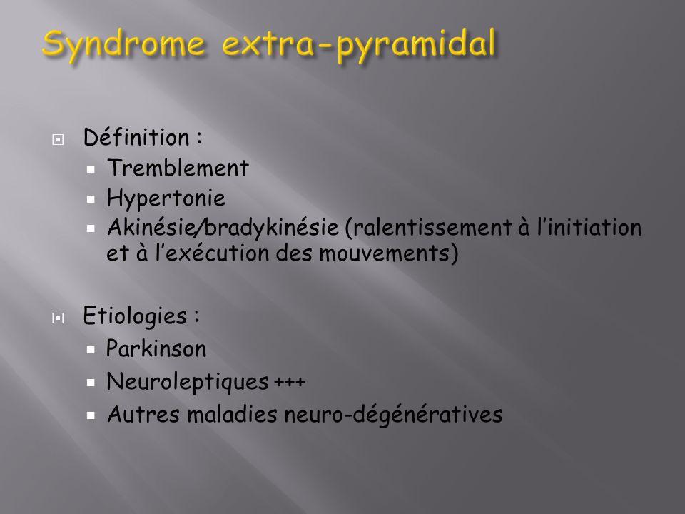 Définition : Tremblement Hypertonie Akinésie / bradykinésie (ralentissement à linitiation et à lexécution des mouvements) Etiologies : Parkinson Neuro