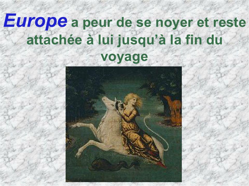 Europe a peur de se noyer et reste attachée à lui jusquà la fin du voyage