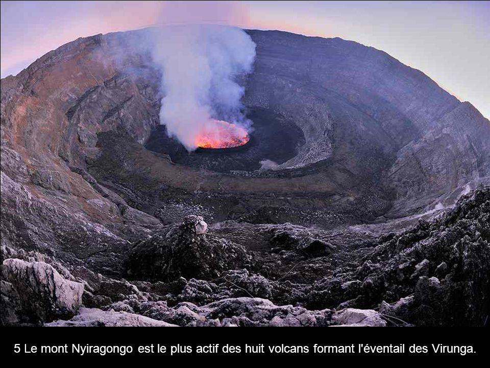 5 Le mont Nyiragongo est le plus actif des huit volcans formant l'éventail des Virunga.