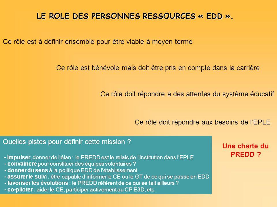 LE ROLE DES PERSONNES RESSOURCES « EDD ».