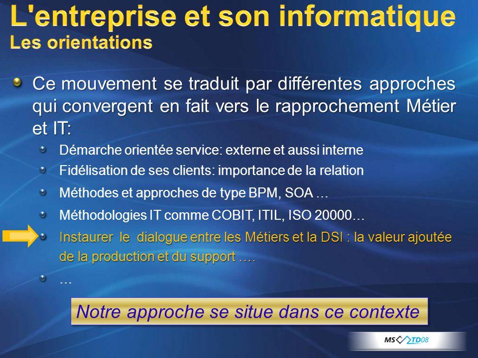 Ce mouvement se traduit par différentes approches qui convergent en fait vers le rapprochement Métier et IT: Démarche orientée service: externe et aussi interne Fidélisation de ses clients: importance de la relation Méthodes et approches de type BPM, SOA … Méthodologies IT comme COBIT, ITIL, ISO 20000… Instaurer le dialogue entre les Métiers et la DSI : la valeur ajoutée de la production et du support ….