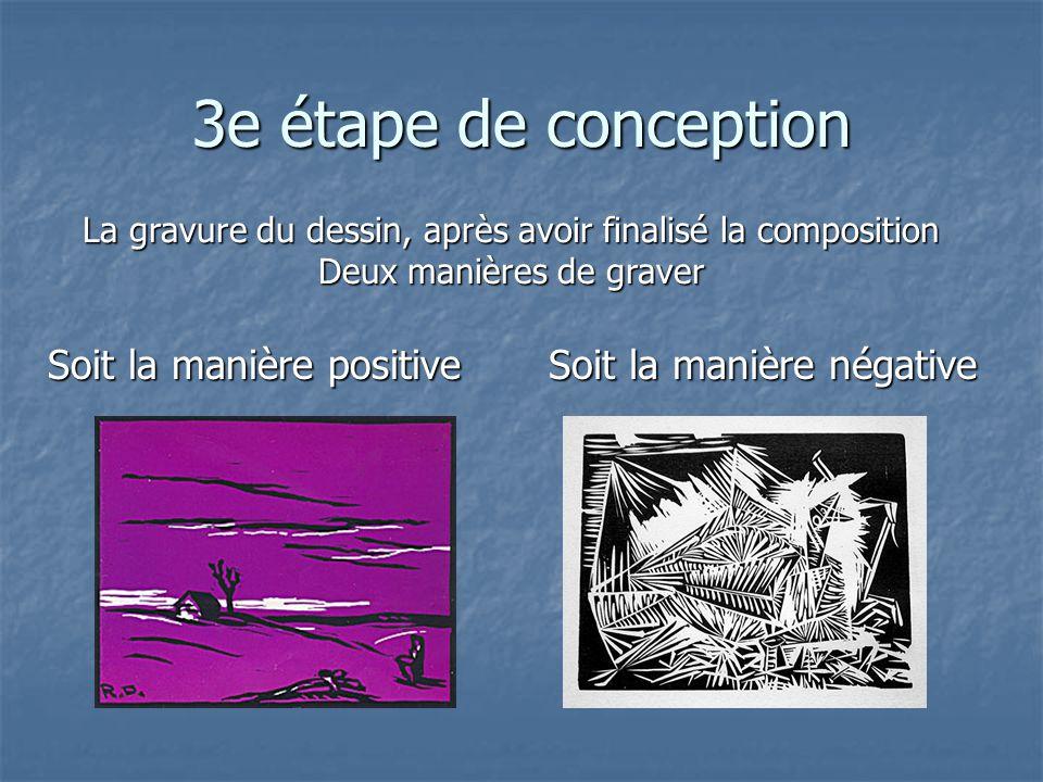 3e étape de conception Soit la manière positive La gravure du dessin, après avoir finalisé la composition Deux manières de graver Soit la manière néga