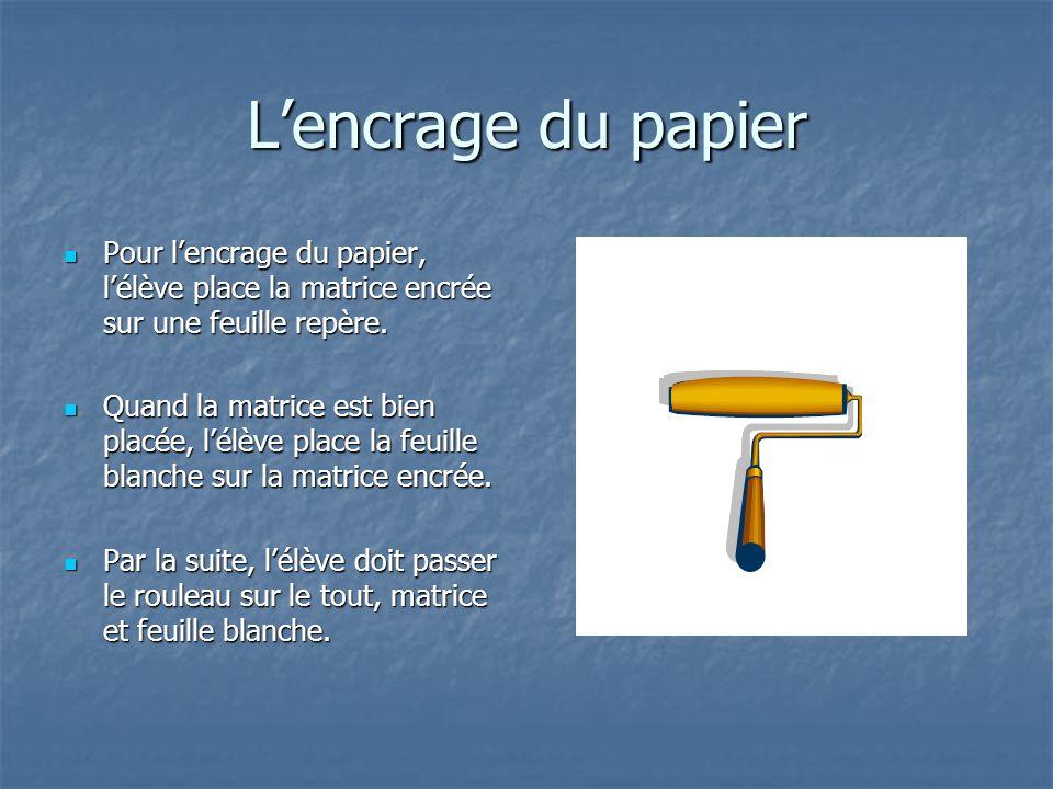 Lencrage du papier Pour lencrage du papier, lélève place la matrice encrée sur une feuille repère. Pour lencrage du papier, lélève place la matrice en