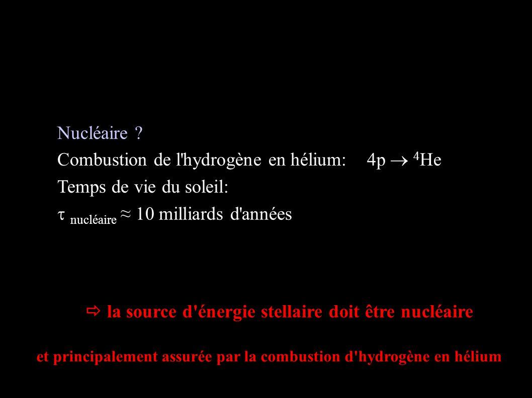 Sources d'énergie stellaire (fin) Nucléaire ? Combustion de l'hydrogène en hélium: 4p 4 He Temps de vie du soleil: nucléaire 10 milliards d'années la