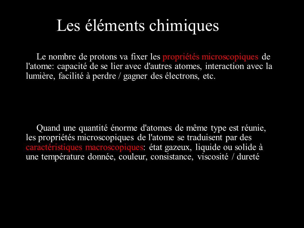 Les éléments chimiques Le nombre de protons va fixer les propriétés microscopiques de l'atome: capacité de se lier avec d'autres atomes, interaction a