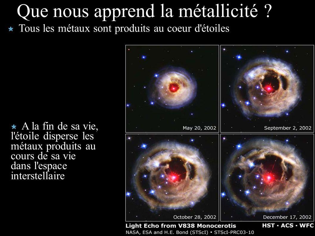 Que nous apprend la métallicité ? Tous les métaux sont produits au coeur d'étoiles A la fin de sa vie, l'étoile disperse les métaux produits au cours