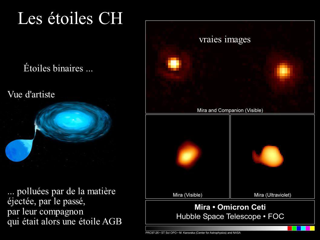 Les étoiles CH Étoiles binaires...... polluées par de la matière éjectée, par le passé, par leur compagnon qui était alors une étoile AGB Vue d'artist