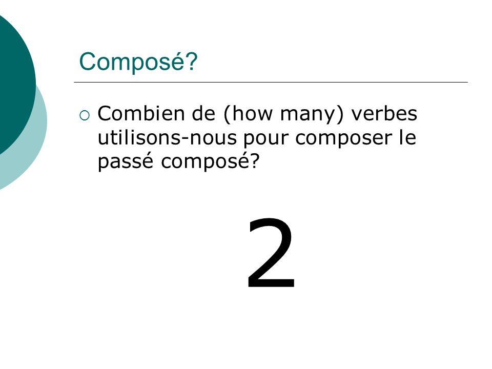 Le premier verbe #1 Lauxiliaire Avoir (ou être pour Dr. & Mrs. Vandertramp) Ex:Tu as _______
