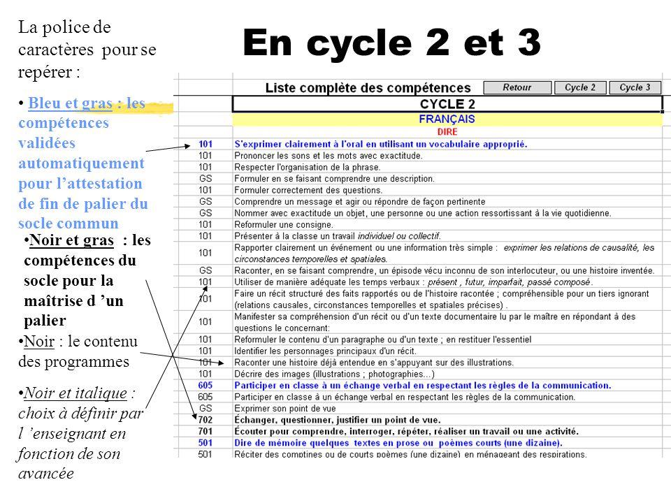 En cycle 2 et 3 La police de caractères pour se repérer : Bleu et gras : les compétences validées automatiquement pour lattestation de fin de palier d