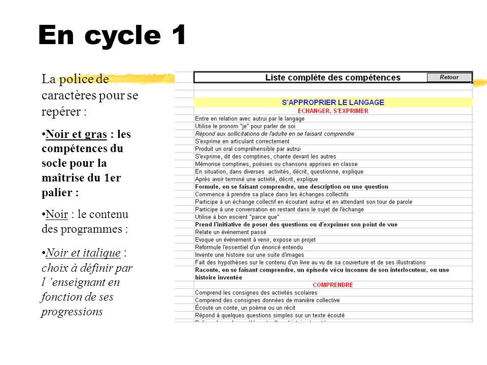 En cycle 1 La police de caractères pour se repérer : Noir et gras : les compétences du socle pour la maîtrise du 1er palier : Noir : le contenu des pr