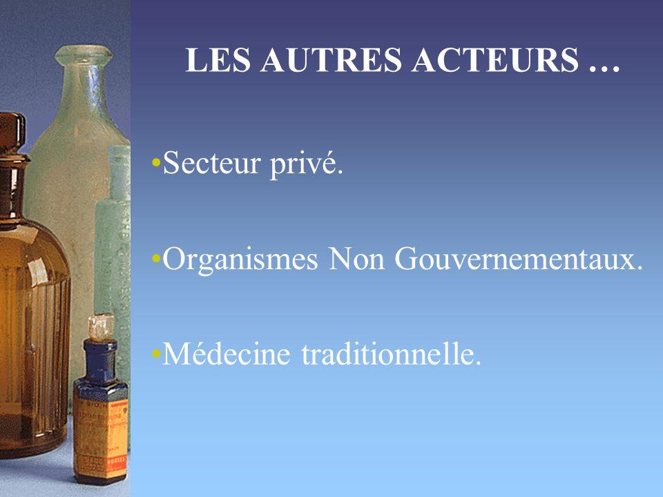 LES AUTRES ACTEURS … Secteur privé. Organismes Non Gouvernementaux. Médecine traditionnelle.