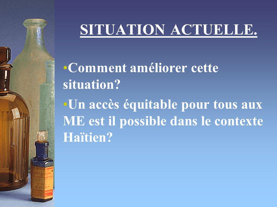 SITUATION ACTUELLE. Comment améliorer cette situation? Un accès équitable pour tous aux ME est il possible dans le contexte Haïtien?