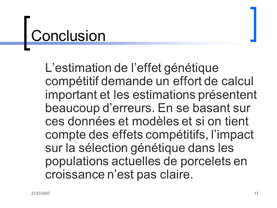 23-03-200713 Conclusion Lestimation de leffet génétique compétitif demande un effort de calcul important et les estimations présentent beaucoup derreurs.