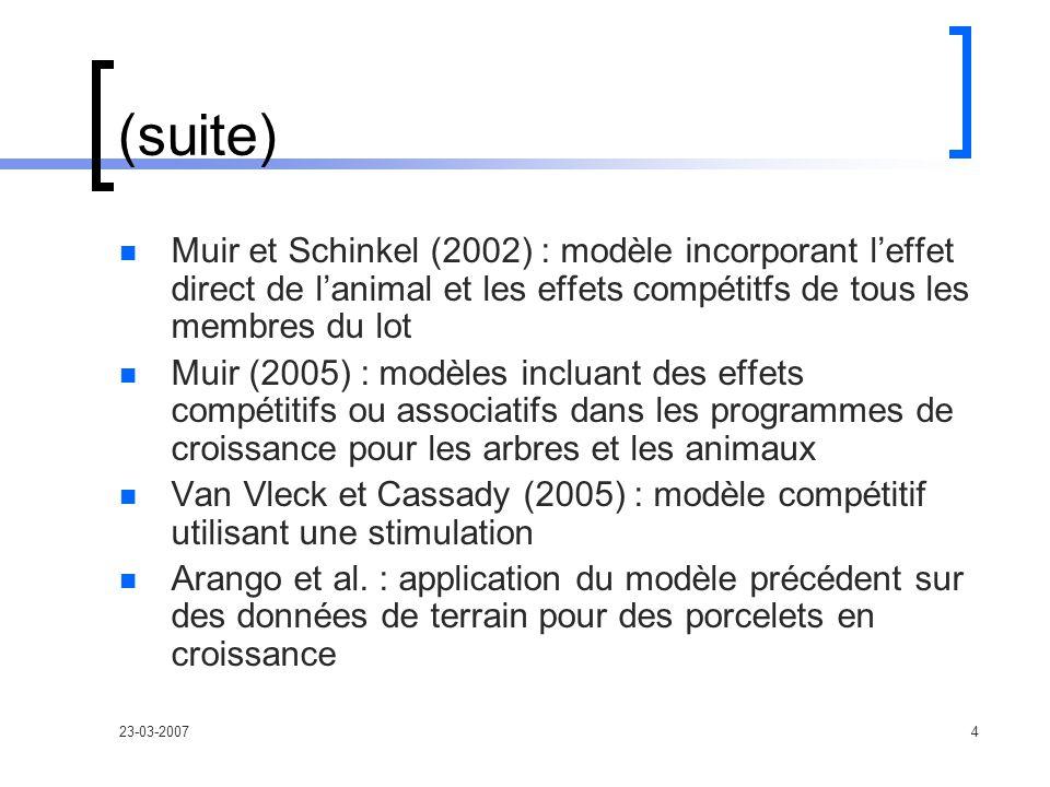 23-03-20074 (suite) Muir et Schinkel (2002) : modèle incorporant leffet direct de lanimal et les effets compétitfs de tous les membres du lot Muir (2005) : modèles incluant des effets compétitifs ou associatifs dans les programmes de croissance pour les arbres et les animaux Van Vleck et Cassady (2005) : modèle compétitif utilisant une stimulation Arango et al.